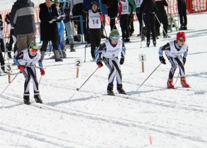 Race start line at Midgets 2012 at Telemark in West Kelowna