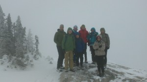 Typical weather for our team when we get up high; it is a Little White Out