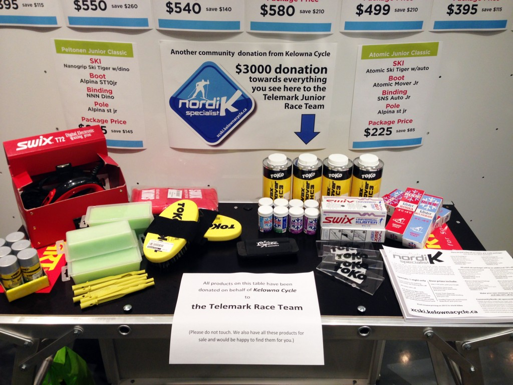 Kelowna Cycle makes $3000 donation towards waxes, tools & bench