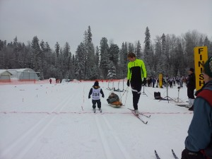 Owen Crosses Line, My coach old coach on Right